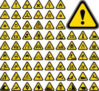 72 Triangular Warning Hazard Symbols 60016037814  写真素材・ストックフォト・画像・イラスト素材 アマナイメージズ