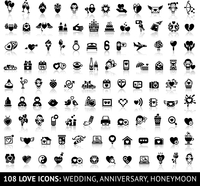 Set of 108 love icons: wedding, anniversary, honeymoon. Vector illustrations, silhouettes isolated on white background