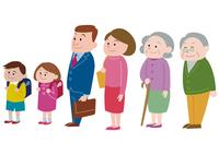 斜め前を向く三世代家族