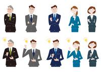 悩んで閃くビジネスマンとビジネスウーマンのバリエーション 60017000048| 写真素材・ストックフォト・画像・イラスト素材|アマナイメージズ