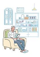 読書をするシニア男性 60021000001| 写真素材・ストックフォト・画像・イラスト素材|アマナイメージズ