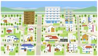 町・住宅街・山 60025000003  写真素材・ストックフォト・画像・イラスト素材 アマナイメージズ