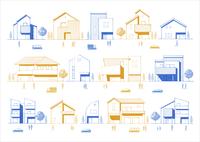 色々なタイプの住宅の線画 人・車・町 60025000004  写真素材・ストックフォト・画像・イラスト素材 アマナイメージズ