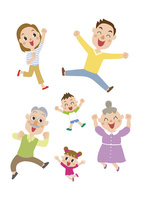 ジャンプする三世代家族 60029000004| 写真素材・ストックフォト・画像・イラスト素材|アマナイメージズ