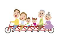 サイクリングする三世代家族 60029000007| 写真素材・ストックフォト・画像・イラスト素材|アマナイメージズ