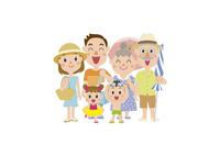海水浴に行く三世代家族 60029000011| 写真素材・ストックフォト・画像・イラスト素材|アマナイメージズ