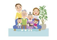 居間でくつろぐ三世代家族 60029000015| 写真素材・ストックフォト・画像・イラスト素材|アマナイメージズ