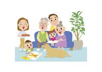 居間でくつろぐ三世代家族 60029000016| 写真素材・ストックフォト・画像・イラスト素材|アマナイメージズ