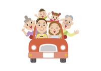 ドライブに出かける三世代家族 60029000017| 写真素材・ストックフォト・画像・イラスト素材|アマナイメージズ