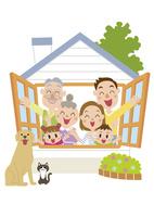 窓から顔を出す三世代家族 60029000019| 写真素材・ストックフォト・画像・イラスト素材|アマナイメージズ