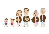 浴衣を着て温泉に行く三世代家族 60029000020| 写真素材・ストックフォト・画像・イラスト素材|アマナイメージズ