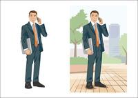 出先で電話をかけているビジネスマン 60030000003| 写真素材・ストックフォト・画像・イラスト素材|アマナイメージズ