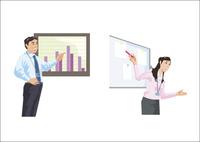 業績の成果などを報告している男女 60030000004| 写真素材・ストックフォト・画像・イラスト素材|アマナイメージズ