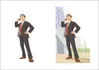 出先で電話しているビジネスマン 60030000010| 写真素材・ストックフォト・画像・イラスト素材|アマナイメージズ