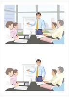新しい提案をプレゼンテーションしている若手ビジネスマン