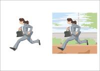 髪をなびかせて走るビジネスウーマン 60030000020| 写真素材・ストックフォト・画像・イラスト素材|アマナイメージズ