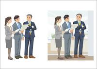 オフィス内で若手社員と談笑している上司 60030000024| 写真素材・ストックフォト・画像・イラスト素材|アマナイメージズ