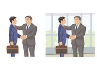 取引先の幹部に歓迎され握手をする若手社員