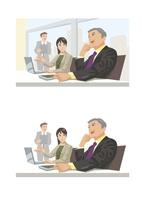 成果について話し合う上司と部下 60030000035| 写真素材・ストックフォト・画像・イラスト素材|アマナイメージズ