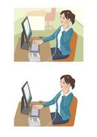 取引先と電話をしながらデータを確認している女性社員