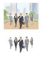 オフィス街を颯爽と歩く上司と部下達