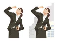 明るい将来に向かって決意を固めポーズをとる女性新入社員 60030000050| 写真素材・ストックフォト・画像・イラスト素材|アマナイメージズ