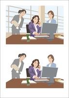 上司と歓談しながら打ち合わせをしている女性社員 60030000053| 写真素材・ストックフォト・画像・イラスト素材|アマナイメージズ