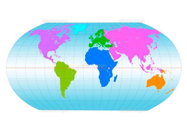 大陸別に色分けされた世界地図(c)Image Work/a.collectionRF