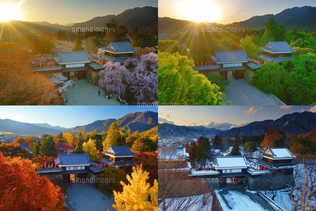 上田城の夕景の春夏秋冬[1024702...