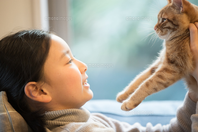 猫と遊ぶ少女