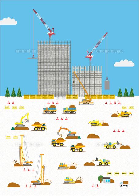 高層マンション建設の工事現場で働く車[10467000141]| 写真素材・ストックフォト・画像・イラスト素材|アマナイメージズ