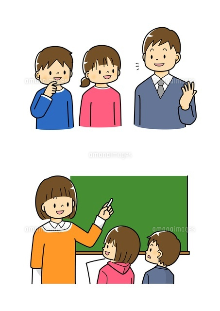 先生の話を聞く小学生・黒板を使って説明する先生[10468000216 ...