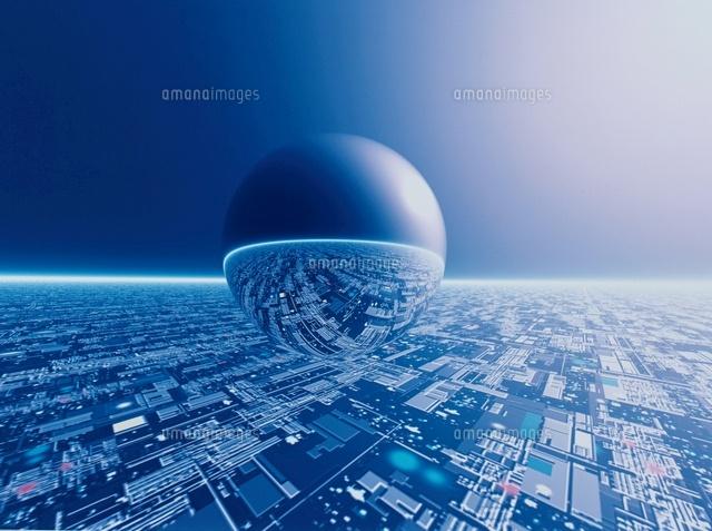 球体と未来都市と地平線(青) CG[...