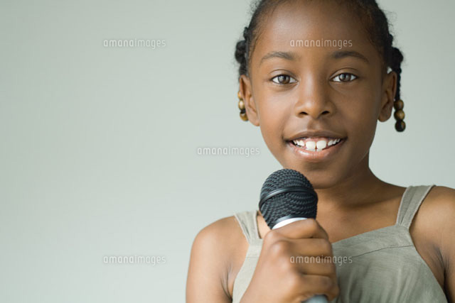 Girl holding microphone