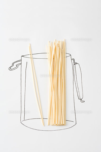 Uncooked pasta in drawing of canister