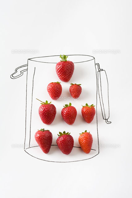Ripe strawberries in drawing of a jar