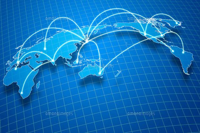 世界地図とネットワークイメージ...