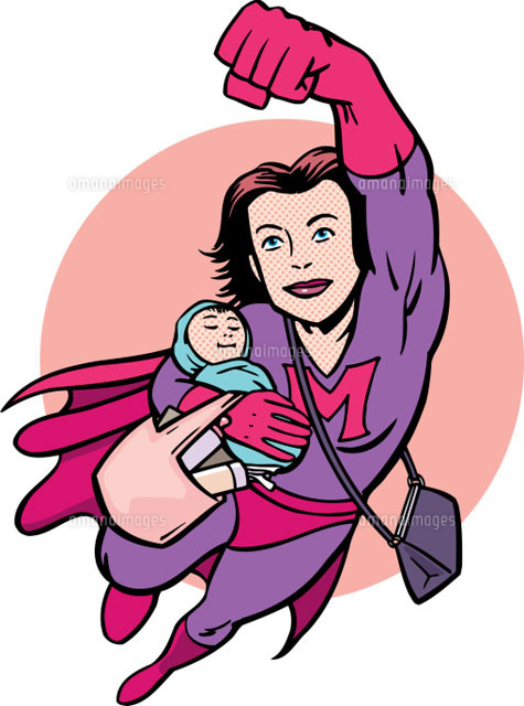 Superhero mother flying carrying baby