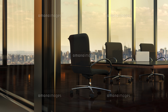 Illustration of Empty Boardroom in Office Building, with view of New York City through windows, New