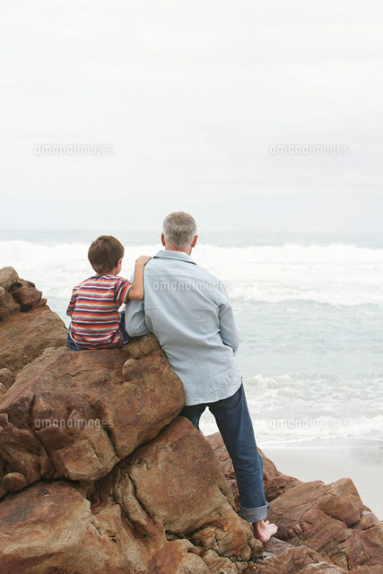 father and son 5 6 sitting on rock facing ocean back v 11044006640