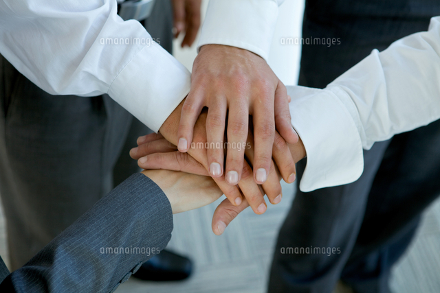 business people group connecting hands
