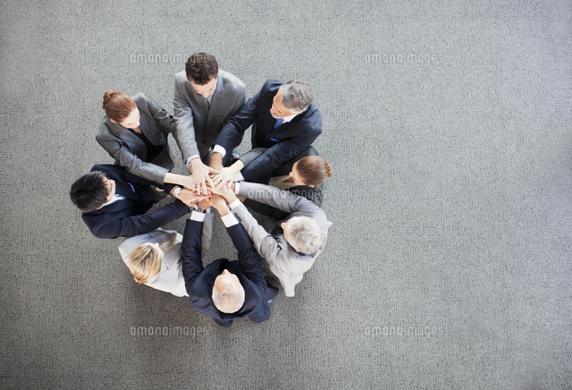 business people stacking hands in circle 11055020825 写真素材