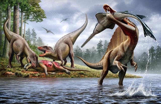 Spinosaurus hunting an Onchopr...