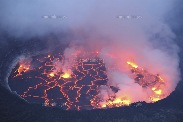 active lava lake in pit crater nyiragongo volcano democratic