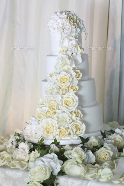 multi tiered white wedding cake romantically decorated with roses