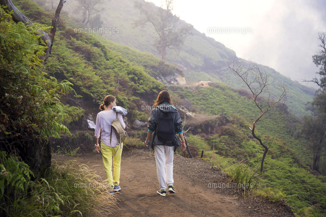 indonesia java two women hiking in the mountains 11094015075