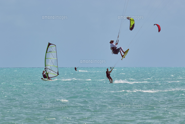 kite surfing and windsurfing at long bay beach on the south coast