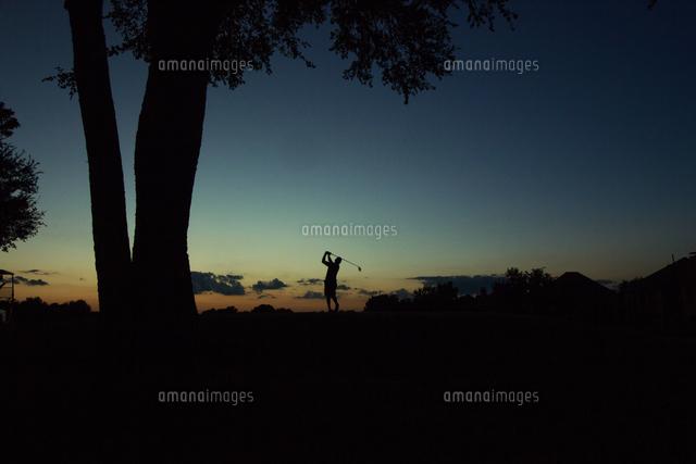 作品番号:11115040202 作品タイトル:Man Playing Golf On Course Against Sky During Sunset