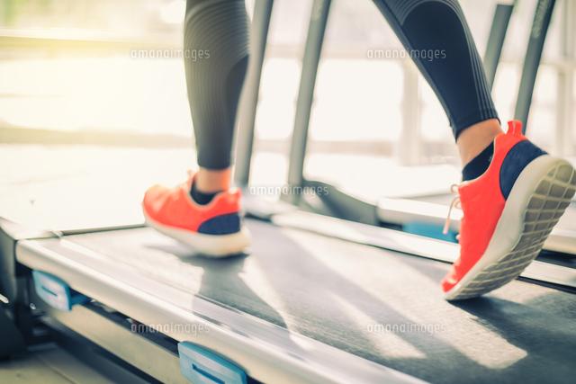 作品番号:11115060236 作品タイトル:Low Section Of Woman Running On Treadmill In Gym