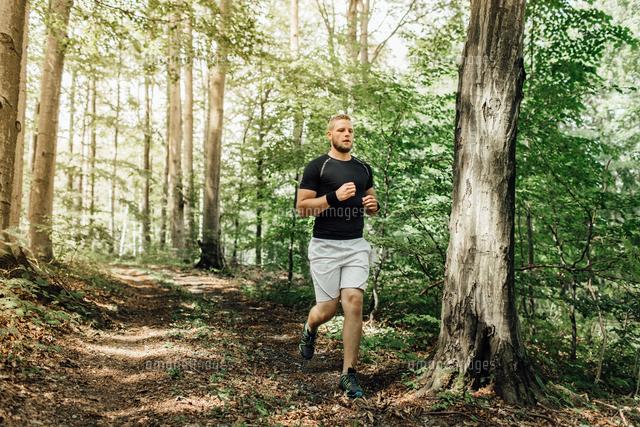 作品番号:11115063098 作品タイトル:Full Length Of Young Man Running In Forest